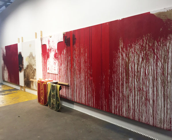 a Hermann Nitsch Pour Painting, 2016