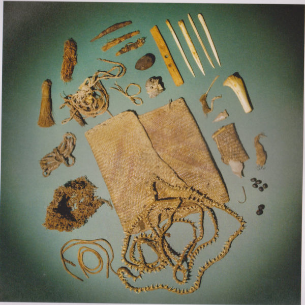 Archaeologists believe this to have been a shaman's bag with ceremonial items, excavated in the Lower Pecos in 1933. Collection of the Witte Museum. From the book Painters in Prehistory.
