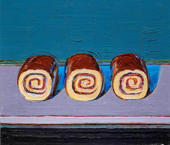 Wayne Thiebaud, Jelly Rolls (for Morton), 2008, oil on canvas, the Frank and Michelle Hevrdejs Collection. © Wayne Thiebaud / Licensed by VAGA, New York, NY
