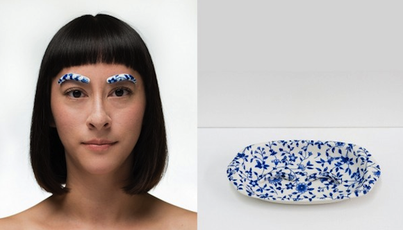 Blue and White: Bold Beauty, 2014, digital photograph, porcelain, blue and white pattern transfer from Jingdezhen, China