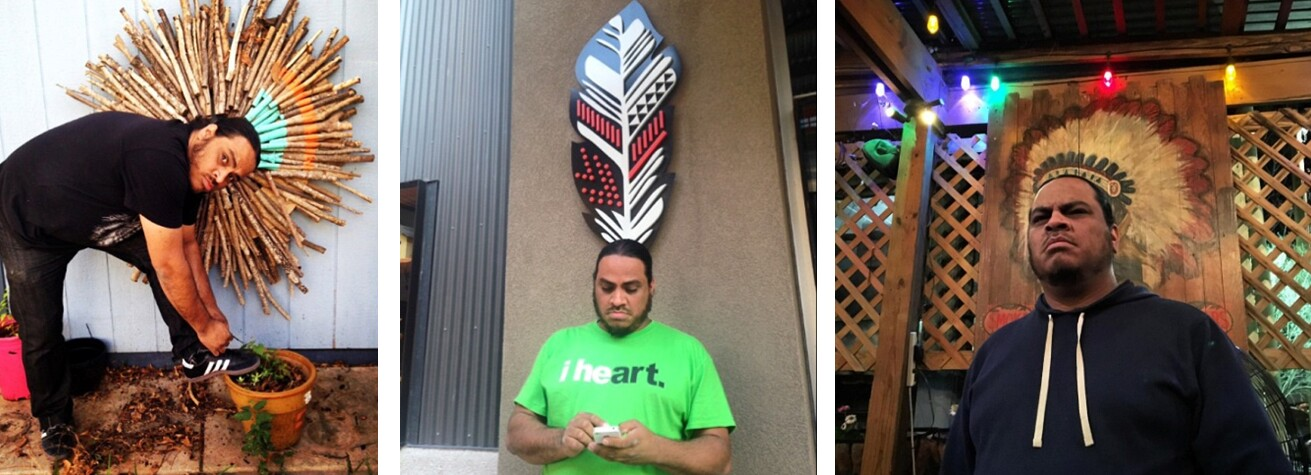 Indian Tying His Shoe, 2014, digital online image Indian Swiping Left, 2014, digital online image Indian Ordering a Pizza, 2017, digital online image