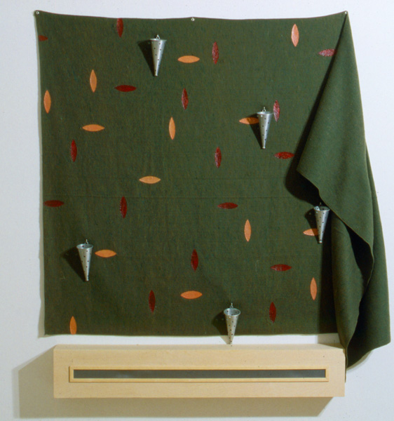 Untitled, 1992, oil on wool blanket, birch plywood, aluminum screen and cones, 75 x 62 x 9 in., San Antonio Museum of Art