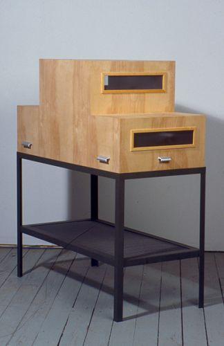 Carrier, 1993, birch plywood, aluminum screen, handles, steel frame, 60 x 24 x 48 in.