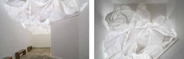 Paper Sky, 2016, collaboration with Cade Bradshaw and Robert Amerman, bond paper, wire, staples, LED lights, 25 x 12 1/2 x 5 ft., AP Art Lab, San Antonio