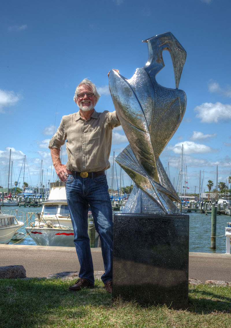 Kent Ullberg at the installation of Preening Heron in front of the Rockport Marina, March 20, 2017. Photo credit: Pamela Fulcher