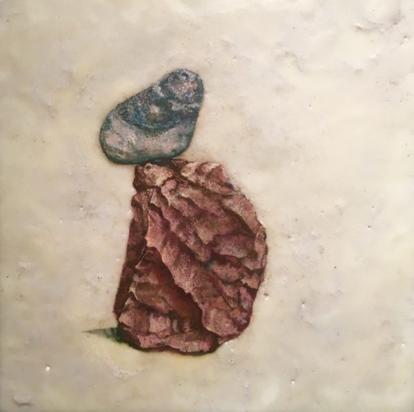 Janet Chaffee, Reenchantment of The World #2, Encaustic with dry pigment (CaCO3) on panel, 24 x 24""