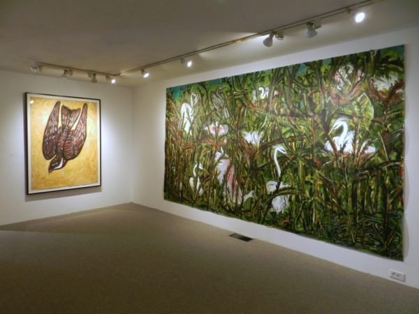 Installation View, Left: Frank X. Tolbert, Chicken Hawk, 2015, Oilstick and graphite on paper, 60 x 44 in. and Right: Frank X. Tolbert, High Island Rookery, 2015, oil on paper, 80 x 140 in.