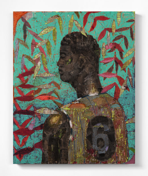 Derek Fordjour, No. 73, 2017. Oil pastel, charcoal, acrylic, cardboard and carved newspaper mounted on canvas, 76.2 x 60.9 cm (30 x 24 inches). Courtesy the artist and Luce Gallery.