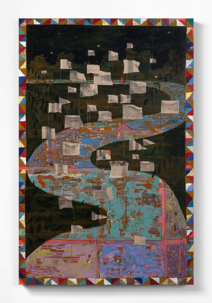 Derek Fordjour, What will you do to help us Win?, 2017. Oil pastel, charcoal, acrylic, glitter, cardboard and carved newspaper mounted on canvas, 147.3 x 96.5 cm (58 x 38 inches).