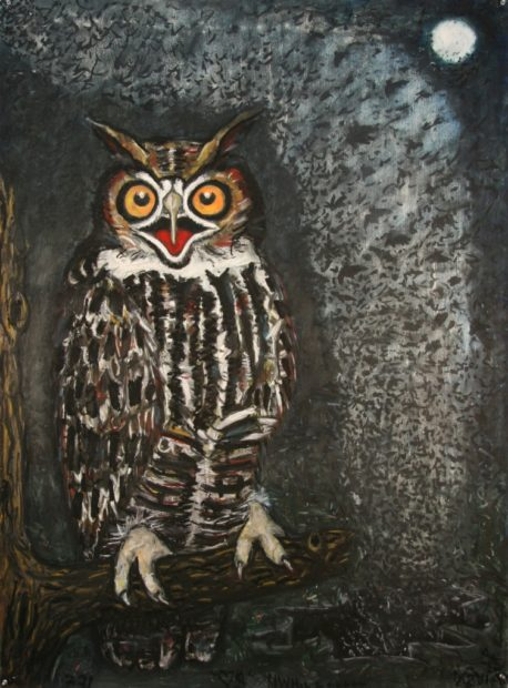 Frank X. Tolbert, Great Horned Owl, 2015, Oilstick and graphite on paper, 60 x 44 in.