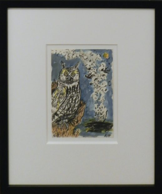 Frank X. Tolbert, Great Horned Owl, 2015, Watercolor and graphite on paper, 7 x 5 in.