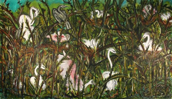 Frank X. Tolbert, High Island Rookery, 2015, oil on paper, 80 x 140 in.