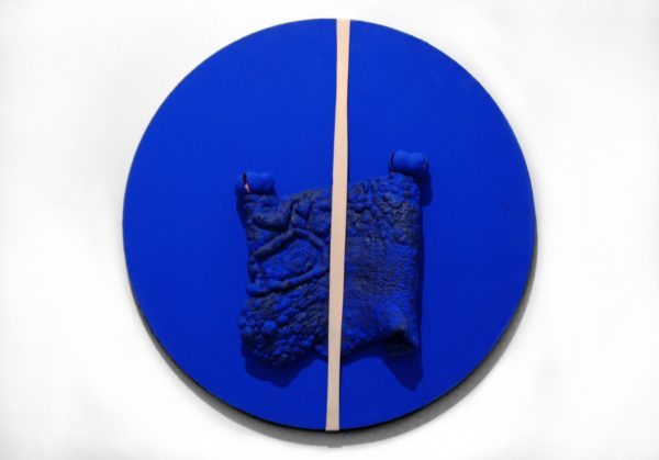 Sensorium #3, Le Corbusier, acrylic paint, chicharrón, virgin wool felt, rubber band, seed pods on canvas, 16 x 16 x i inches, 2017