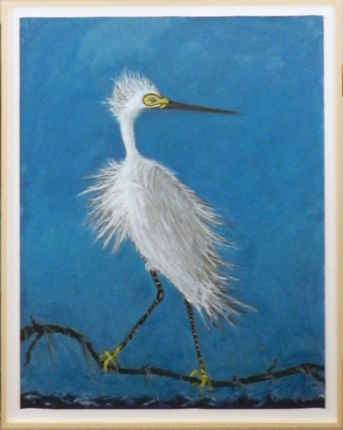 Frank X. Tolbert, Snowy Egret, 2017, Oilstick and graphite on paper, 60 x 44 in.