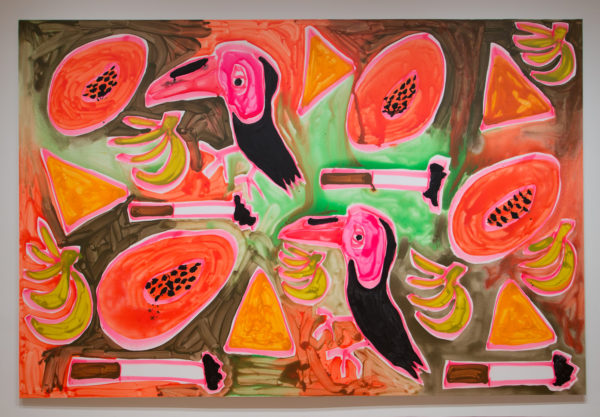 Katherine Bernhardt, Jungle Snack (Orange and Green),2017 Acrylic and spray paint on canvas, Courtesy of the Modern Art Museum of Fort Worth