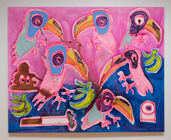 Katherine Bernhardt, Sunset , 2016 Acrylic and spray paint on canvas, Courtesy of the Modern Art Museum of Fort Worth