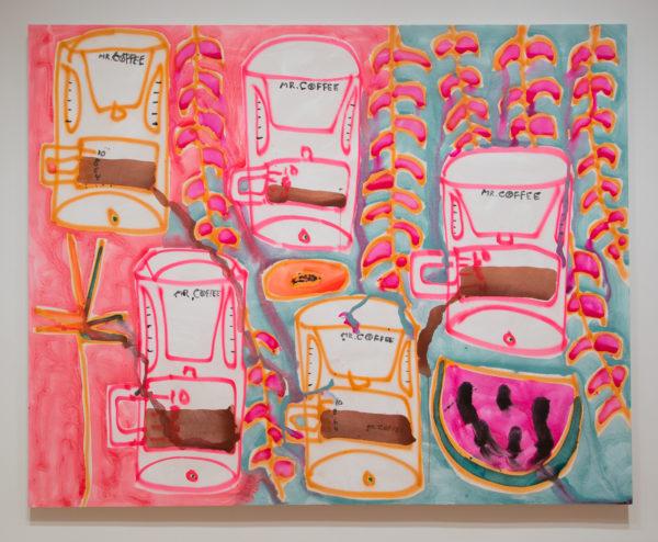 Katherine Bernhardt, Mr . Coffee + Papaya + Vines , 2017, Acrylic and spray paint on canvas