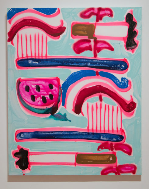 Katherine Bernhardt, Aqua Fresh+ Toothbrushes + Cigarettes+ a Vine ,2017 Acrylic and spray paint on canvas, Courtesy of the Modern Art Museum of Fort Worth