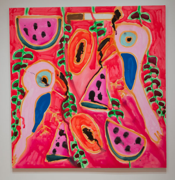 Katherine Bernhardt, Watermelons + Toucans + Papaya + Vines + Cigarette ,2017, Acrylic and spray paint on canvas, Courtesy of the Modern Art Museum of Fort Worth
