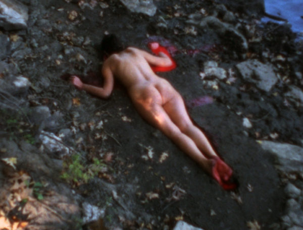 Ana Mendieta, American, 1948-1985, Silueta Sangrienta, 1975, Super-8mm film transferred to high-definition digital media, color, silent, Running time: 1:51 minutes. Nasher Sculpture Center, Acquired through the Kaleta A. Doolin Acquisitions Fund for Women Artists. Image courtesy of Galerie Lelong, New York.