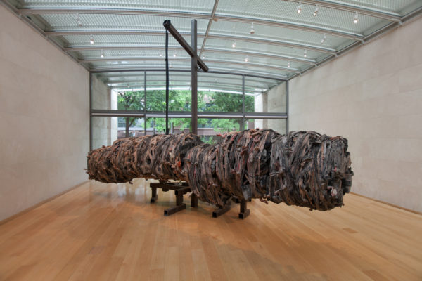Phyllida Barlow, British, born 1944, untitled: hangingmonument2015, 2015, timber, polyurethane foam, plystyrene, cement, bonding, steel, plywood, fabric, scrim, paint, PVA, filler, sand, 196 7/8 x 275 5/8 x 118 1/8 in. (500.1 x 700.1 x 300cm). Nasher Sculpture Center, Acquired through the Kaleta A. Doolin Acquisitions Fund for Women Artists. Photo: Kevin Todora, courtesy of the Nasher Sculpture Center.
