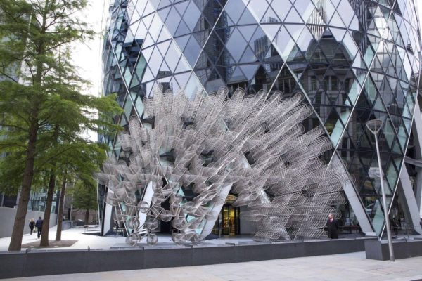IMAGE: Ai Weiwei, Forever Bicycles, 2014. Installation view, Sculpture in the City, in partnership with the Royal Academy of Arts Exhibition, London, 2015. Artwork © Ai Weiwei Studio. Courtesy the artist, Lisson Gallery, and Sculpture in the City/City of London. Photograph by Nick Turpin.