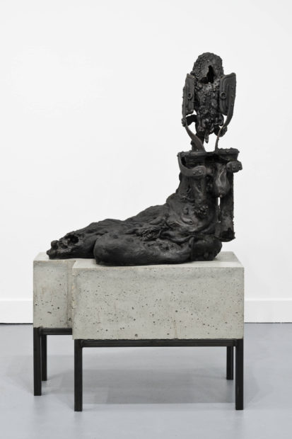 Lionel Maunz, New Mother / You Must Increase As I Must Decrease, 2017. Concrete, steel, and iron. 62 x 36 1/4 x 18 inches.