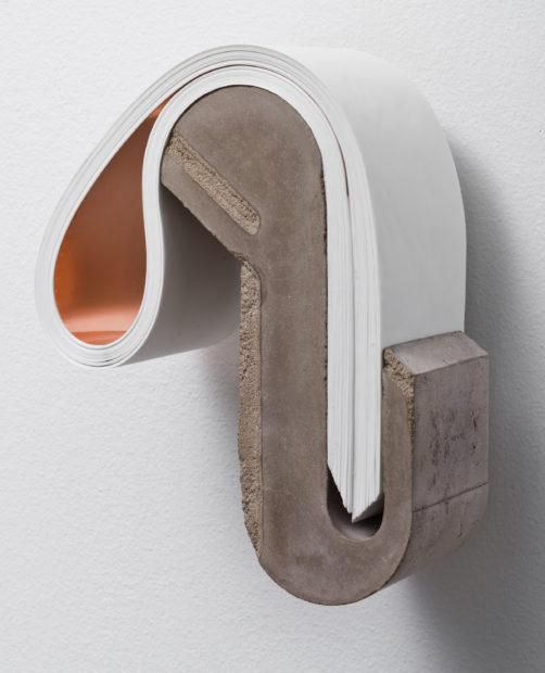 Abismo 63, 2017, concrete, paper, and brass