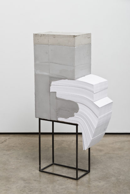 White Lies 4, 2017, concrete, paper, and steel