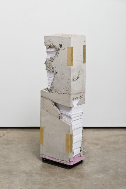 White Lies 7, 2017, concrete, paper, gold leaf, and steel