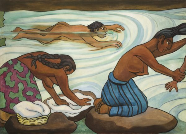 Diego Rivera, Juchitán River (Río Juchitán), 1953–1955, oil on canvas on wood (Óleo sobre tela adherida a madera), Museo Nacional de Arte, INBA, Mexico City Assigned to the Instituto Nacional de Bellas Artes through the Sistema de Administración y Enajenación de Bienes of the Secretaría de Hacienda y Crédito Público, 2015 © 2017 Banco de México Diego Rivera Frida Kahlo Museums Trust, Mexico, D.F. / Artists Rights Society (ARS), New York