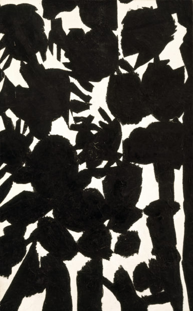 Jack Youngerman, Untitled, 1955. Oil on burlap, 57 9/16 × 35 13/16 in. (146.2 × 91 cm). The Museum of Fine Arts, Houston.