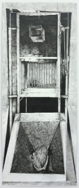 Lionel Maunz, Vertical Chamber, 2016. Graphite on paper. 53 x 21 3/4 inches.