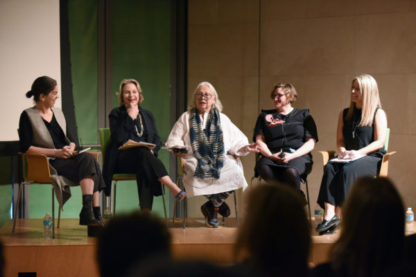 """""""Off the Pedestal: Women Artists in Art Museums,"""" featuring Connie Butler, Elizabeth A. Sackler, Lynda Benglis, Jenni Sorkin, and moderator Leigh Arnold, February 11, 2017, Nasher 360 Lecture Series. Photo: Kristina Bowman, courtesy of the Nasher Sculpture Center."""
