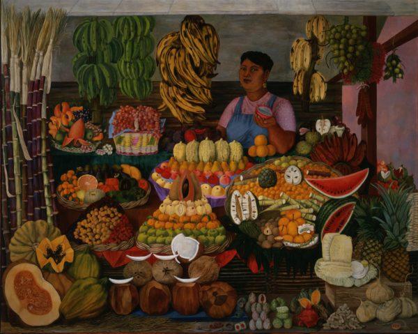 Olga Costa, Fruit-seller (La vendedora de frutas), 1951, oil on canvas (óleo sobre tela), Museo de Arte Moderno, INBA, Mexico City © 2017 Artists Rights Society (ARS), New York / SOMAAP, Mexico City