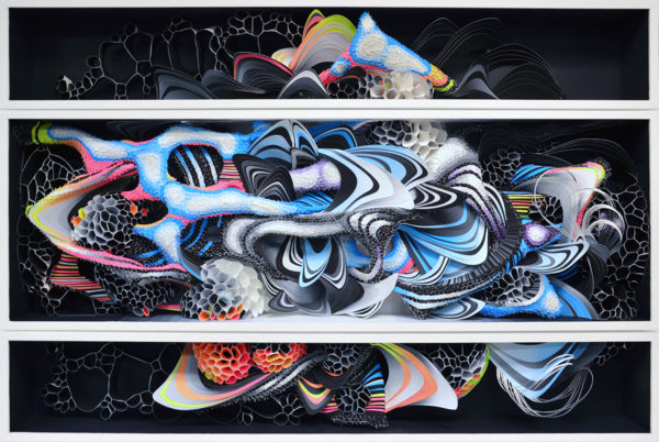 """Aether, 2016, 36"""" x 7"""" x 60"""", Screen printed cut paper in custom built wooded box, paint, Opt. UV protective Plexi"""