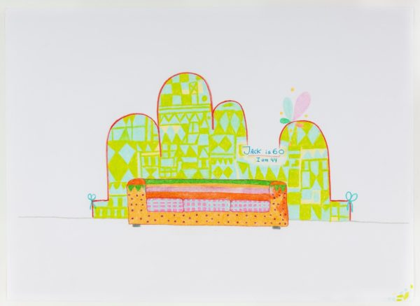 Lily van der StokkerJack Is 60, I Am 44, Design for Wall Painting and Couch, 1998