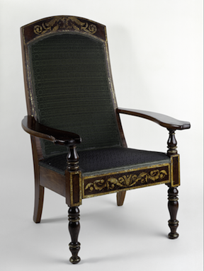 Joseph P. Whiting (Maryland, ca. 1800 – Panama, 1849, active in Caracas since 1824), Butaca, ca. 1830, mahagony, cedar, and stenciled gilding, 38 1/2 x 27 x 28 1/2 in., Blanton Museum of Art, The University of Texas at Austin, Gift of Patricia Phelps de Cisneros, 2016. Photo Courtesy of Colección Patricia Phelps de Cisneros.