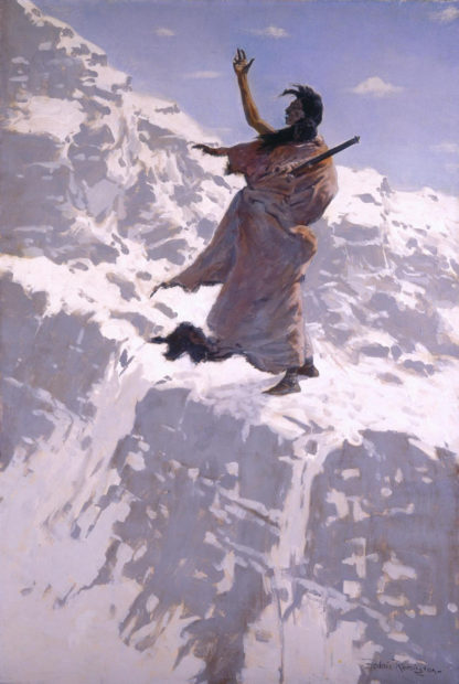 """Frederic Remington (1861-1909) """"He Shouted His Harsh Pathos at a Wild and Lonely Wind, but There Was No Response""""c. 1900, oil on canvas"""