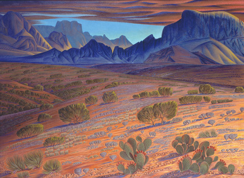 Alexandre Hogue, Chief Alsate's Profile, Big Bend, 1981, oil on canvas