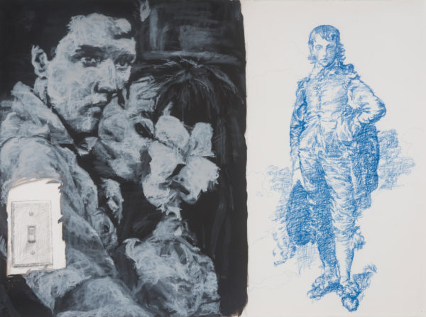 """Elvis Movie with Blue Boy Wall Drawing, 1981 Acrylic and pencil on paper 22"""" x 30"""" Collection of Cece and Ford Lacy, Dallas, Texas Photo credit: Harrison Evans"""