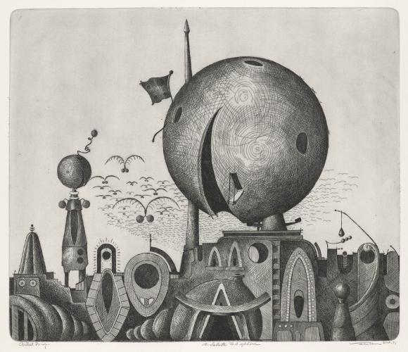 Valton Tyler (b. 1944) A Salute To a Sphere, 1971 Line etching