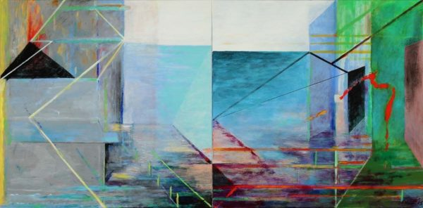 Richard Stout, A Day at Rollover Bay, 2015, acrylic on canvas, 30 x 60 inches, Collection of the Artist