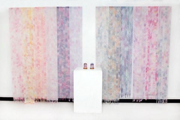 Molly Beaufait, Roseate, 2017. Hand-woven 10/2 cotton thread, MX dye, 6 x 9 feet, two pieces.