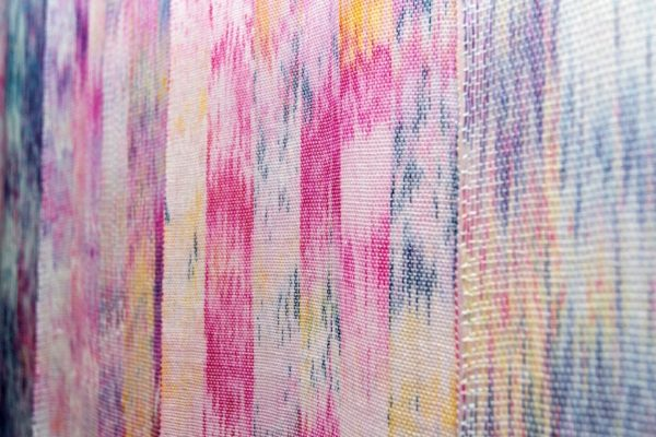 Molly Beaufait, DETAIL, Roseate, Hand-woven 10/2 cotton thread, MX dye, 6 x 9 feet, two pieces, 2017