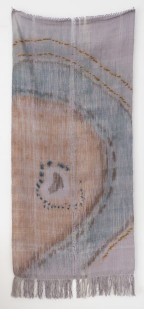 Jennifer Cummings, Days and Connections, Silkscreen pigment on hand woven cotton and linen, boucle, wool / mohair blend yarn, 61 x 28 inches, 2016