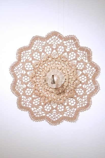 Casey Galloway, Future Suspended, Antique doilies, tea stain, found bottles, soil, water, cotton seed, cotton thread, pins, 30 x 30 x 3 inches, 2015