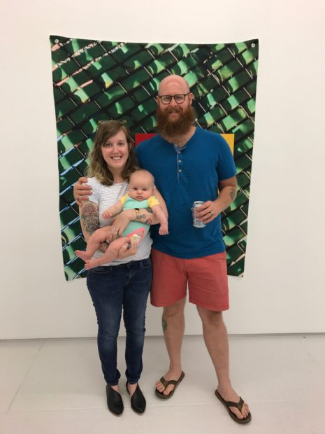 The Renner-Peacock family at Art Palace pictured in front of work by Jim Nolan. Image courtesy of Emily Peacock.