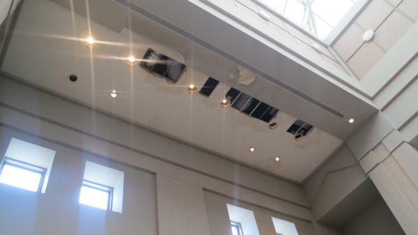 Ceiling damage at the Art Museum of Southeast Texas