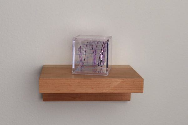 Sheryl Anaya, glimmer arrangement 5, Acrylic box, poly deco mesh, 2 x 2 x 2 inches, 2017